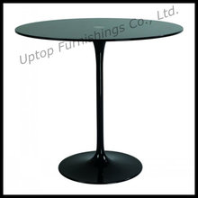 Elegant Black Glass Eero Saarinen Tulip Table (SP-GT348)