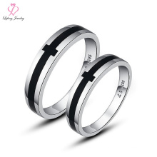 Latest Price Newest Design Italian Cute Without Stone Cross 925 Silver Magnetic Couple Ring