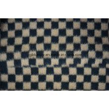 Tissu en laine à carreaux noir et marron