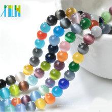 Multicolor Rodada Cat Eye Beads Jóias Fazendo Ofício Strand