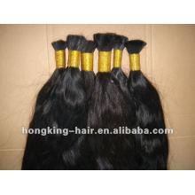 Pelo remy indio de la venta caliente a granel del cabello virginal humano del 100%
