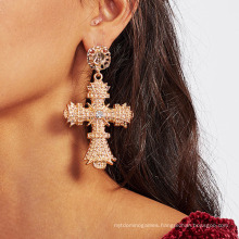 Female Individual Character Is Contracted Aureate Earring Crosses Set Diamond Earring