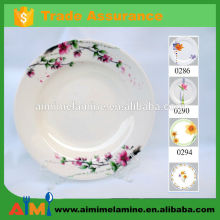 Thailand design A1 30% melamine round dish , disposable plastic plates white with decal color