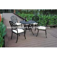 Elizabeth style cour 5 pcs fonte meubles de patio en aluminium