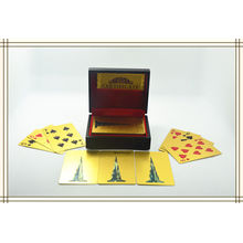 Customize 24k Karat Gold Plated Playing Cards With Wood Gift Box And Certificate