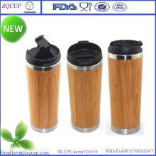 Taza de bambú respetuoso del medio ambiente y taza bambú y bambú de doble pared taza