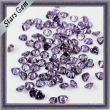 Púrpura caliente de la venta y del corazón que corta Zirconia cúbico