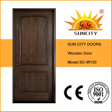 Diseño de puerta principal de madera maciza interior de estilo moderno clásico (SC-W130)