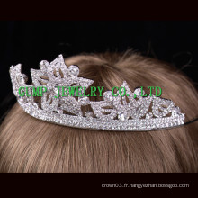 Flower Shaped strass tiara couronne en cristal d'argent