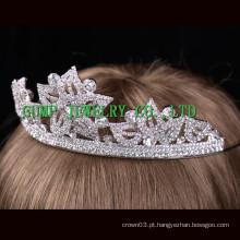 Flor em forma de strass tiara prata cristal coroa