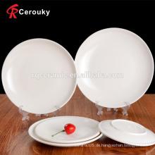 Niedrige Menge billige weiße Keramik Steinzeug Platte für Hochzeit