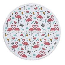 Flamingos Padrão Grosso Terry Rodada Toalha De Praia Com Franjas Borlas Tapestriesupplier
