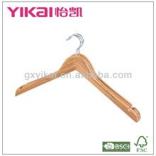 Juego de 3 piezas de percha de bambú plana de la camisa con muescas de U