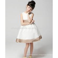 Baby Kids White Communion Dress A Line Longueur au genou Satin Flower Girl Dresses