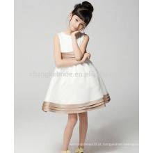 Baby Kids White Communion Vestido A Line Joelho de comprimento Cetim Flower Girl Dresses