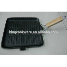 Square/rectangular cast iron grill pan with wooden foldable/removable handle