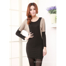 Lady Fashion Cotton Knitted Slim Short Dress (YKY2007)