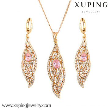63600 Xuping Fashion set 18K Charming Gold Earring and Pendant Jewelry Set