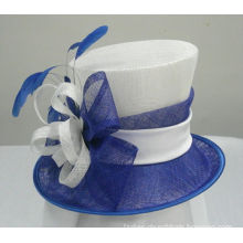White / Royal Blue Sinamay Ladies Hats For Horse Racing With Satin & Feather Trim