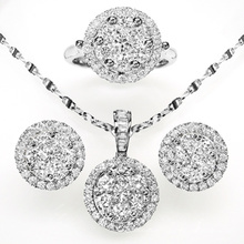 Round Fashion CZ Jewelry Set 925 Sterling Silver Jewelry