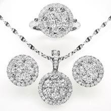 Round Fashion CZ Jewelry Set Jóias de prata esterlina 925
