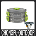New 2016 Green pan and pot set for camping equipment , hiking survival,backpacking, picnic