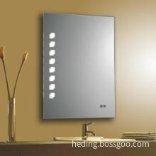 lighted bathroom mirror with clock / IP44 & CE