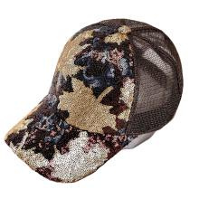 Korean Style Fashion Creative Sunhat Spring Summer Autumn Sequined Maple Leaf Sports Baseball  Cap Peaked Ladies  Hat