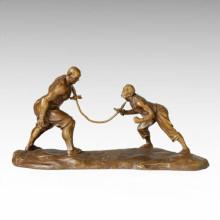 Statue orientale Acrobatisme traditionnel Bronze Sculpture Tple-037