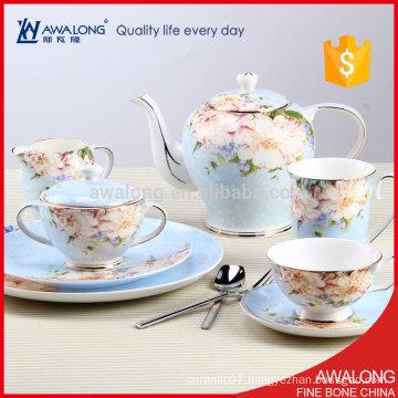 Grace Sweet design Light blue Fine Bone China Porcelain Luxury British Tea Dinner Set