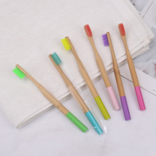 Round Handle Adult Travel Natural Bamboo Toothbrush
