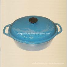 Enamel Oval Cast Iron Dutch Oven China Factory Size 33X26cm