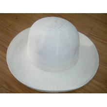 Señoras moda sombrero de paja blanco
