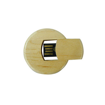 Round Wood USB Disk with Custom Logo
