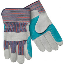 Economy Shoulder Split Cowhide Double Layer Palm 2-Inch Cuff Leather Palm Work Gloves