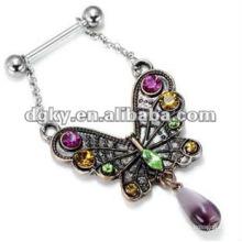 Aço inoxidável único borboleta nipplie piercing jóias popular anel de mamilo