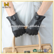 2015 Top-selling Genuine Women Leather Gloves with wool lining Lady Leather Gloves for Winter
