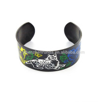 2015 fashion personality cat pattern stanless steel IP black bracelet cuff link chinese exporters