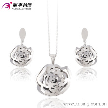 Ensemble de bijoux en acier inoxydable Rhoum en forme de folwer -63655