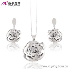 Fashion Rhoium Folwer-Shaped Stainless Steel Jewelry Set -63655