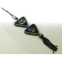 Fashion Jewelry Charms Paua Shell Abalone Gemstone Pendant Necklace
