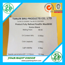 Factory Producing Fully Refined Paraffin Wax 58