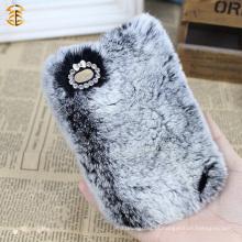New Arrival OEM caso de pele de coelho personalizado para caixa de telefone celular