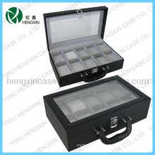 PU couro relógio caixas com 10 slots para exibição