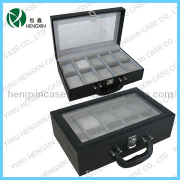 PU Leather Watch Boxes with 10 Slots for Display