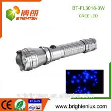 Alibaba Venta caliente de alta UV portátil de alta UV Detector de manchas de orina Blacklight 395-410nm 3w luz de antorcha UV para escorpión Hunter