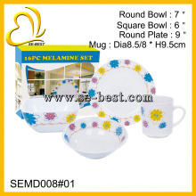 wholesale custom printed 4pc round plastic melamine dinnerware
