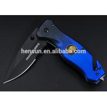 Couteau pliant tactique à ouverture assistée avec briseur de verre