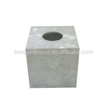 Perle der Mutter Schale Süßwasser Schale gesamte weiße Quadrat Sanitary Servietten Box