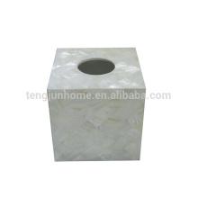 Pérola da mãe escudo shell de água doce quadrado branco total Caixa de Guardanapos Sanitários